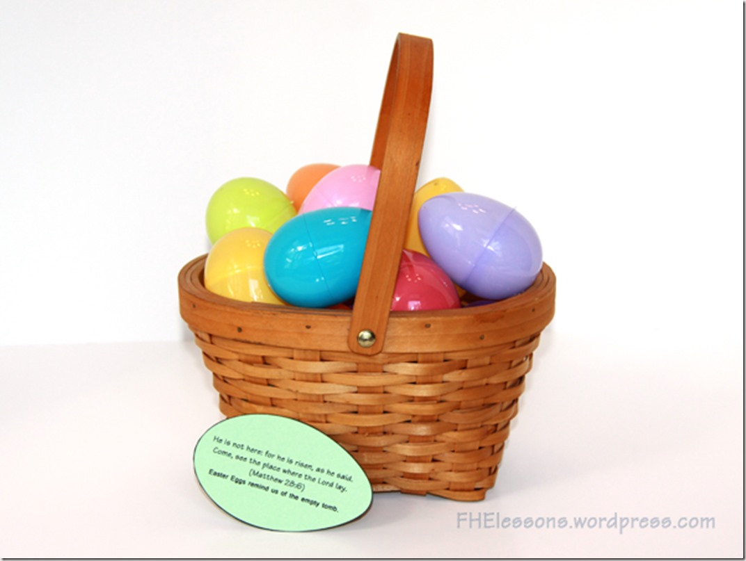 a scripture to go with plastic eggs in a Christ centered Easter basket