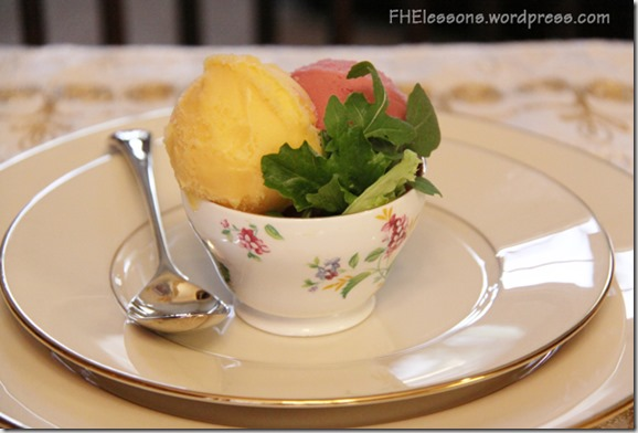 bitter herbs represent the bitterness of sin while sorbet represents the sweetness of the atonement in a passover style easter dinner