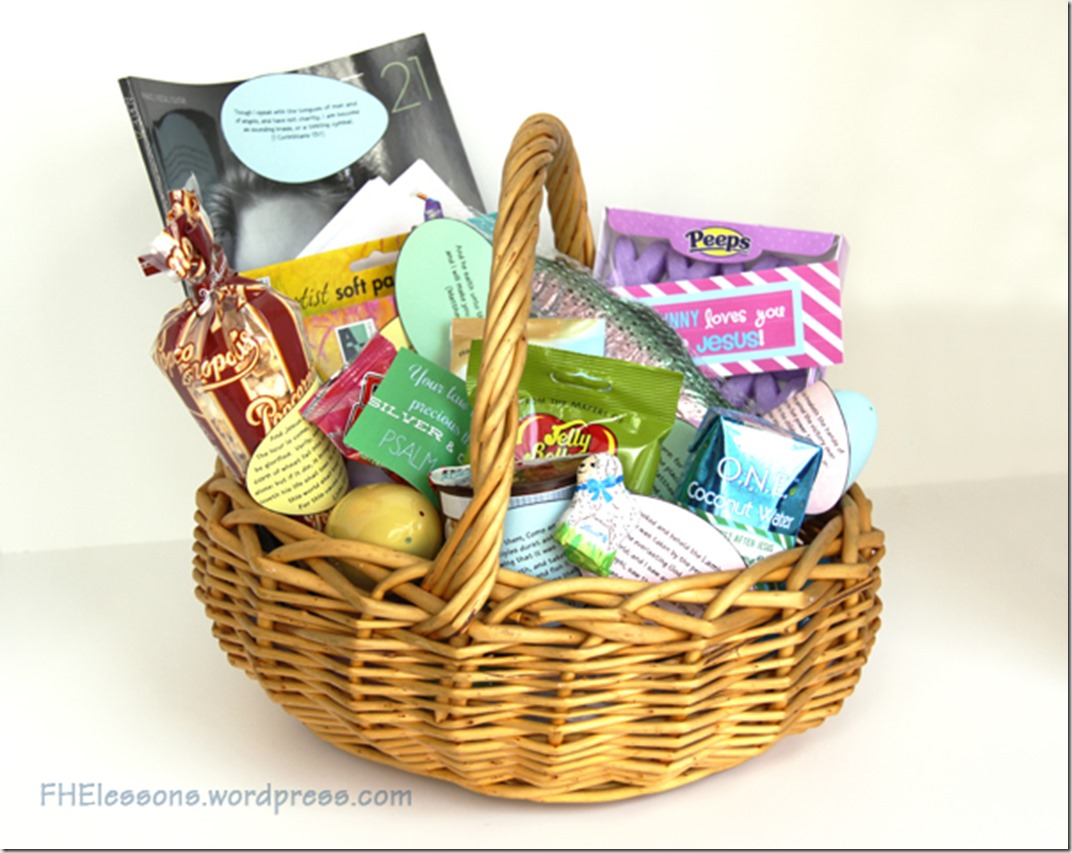 Christ centered easter baskets family home evening lessons christ centered easter basket with printable scripture eggs negle