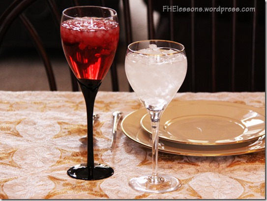 cranberry juice and water represent that though our sins be as scarlet they shall be white as snow during this passover style easter dinner