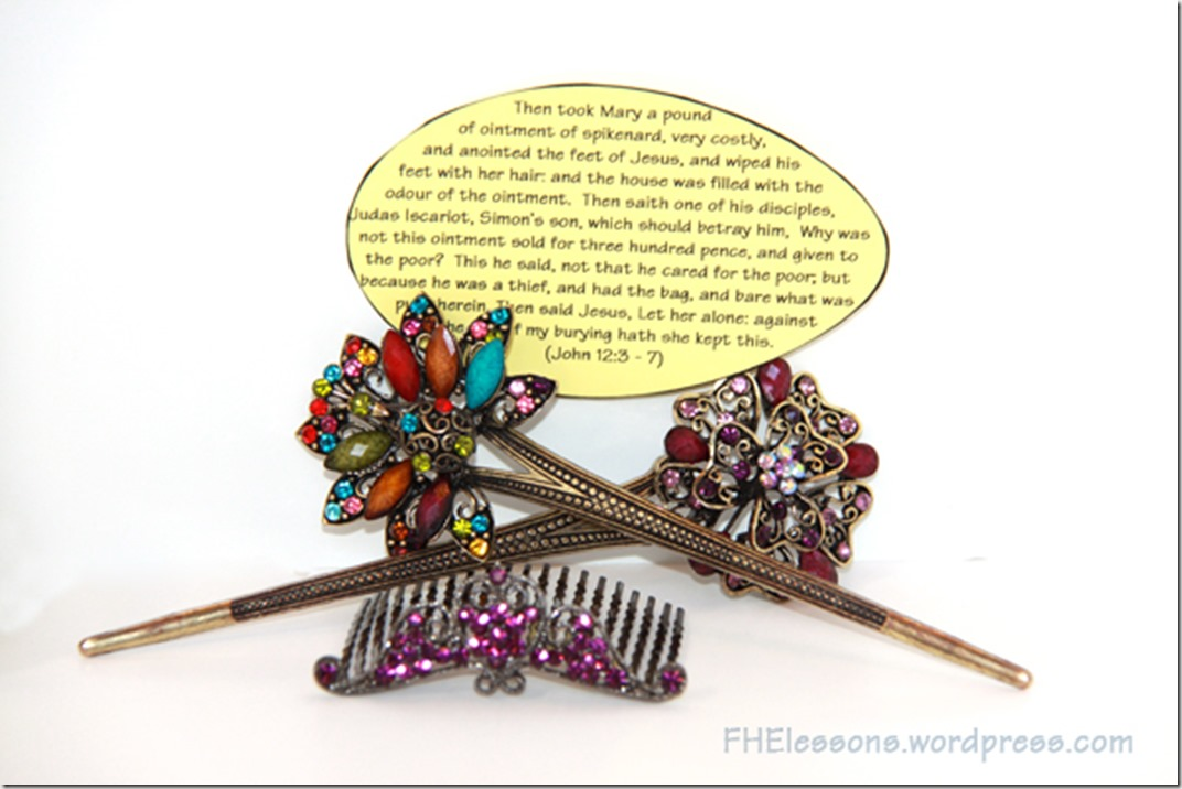 hair ornaments with a scripture as part of a Christ centered Easter basket