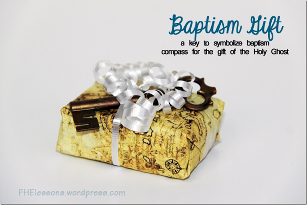 baptism gift key and compass with map