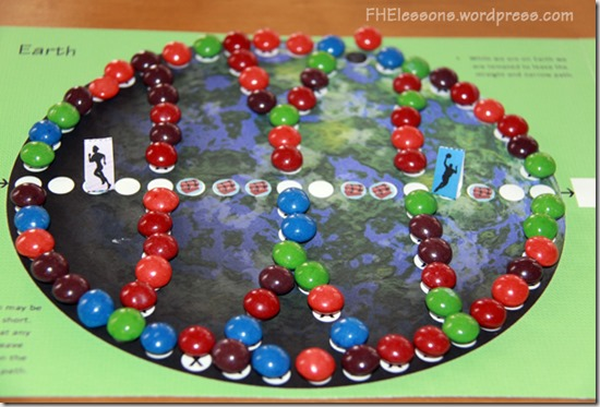 Move your piece along the path in the Plan of Salvation board game