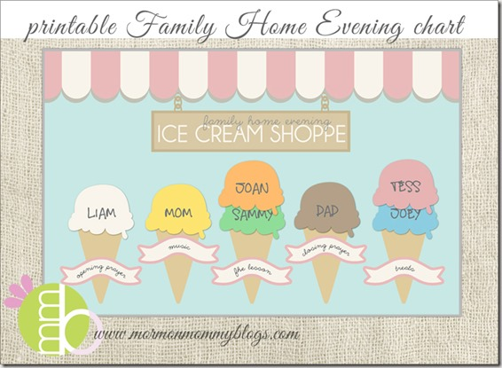Printable Ice Cream FHE Chart from MMPrintables